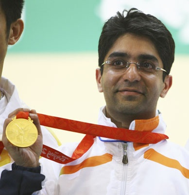 Abhinav Bindra is the current World and Olympic champion in the 10 m Air Rifle event.    He is the first Indian to win an individual gold medal at the 2008 Beijing Olympic Games.    It was India's first gold medal since 1980, when the Men's Field Hockey Team won the gold.