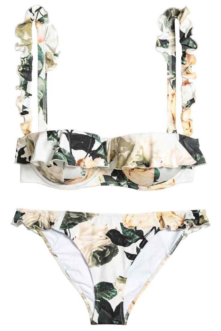 Bikini met dessin - Wit/bloemen - DAMES | H&M NL