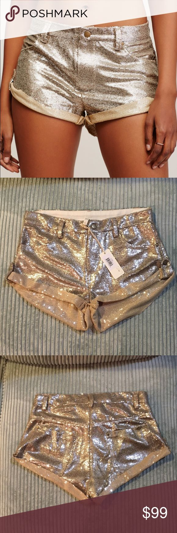 Free People Gold Sequin Shorts Brand new with tags. They are not super small, would probably fit up to a size 4. Bundle 3 or more items for an additional 20% off! Free People Shorts