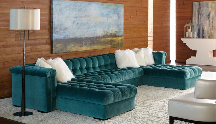 American Leather Grant 2 Piece Sectional Teal Blue Fabric
