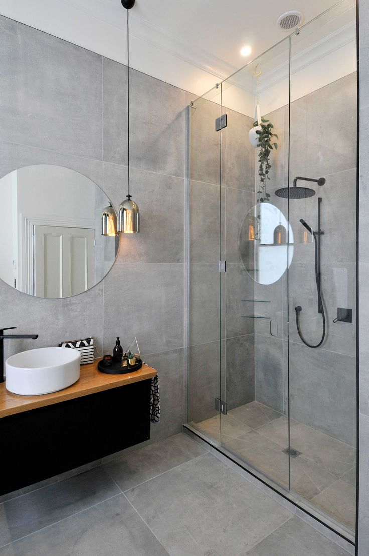 Modern Bathroom Grey Tile. Very Similar Scheme That I Am Going For Round Mirror Natural Wood Glass Shower Black Fixtures And Gray Tile