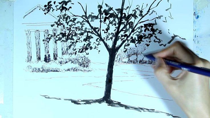 Рисунок линерами  Как нарисовать дерево  Ускоренное видео