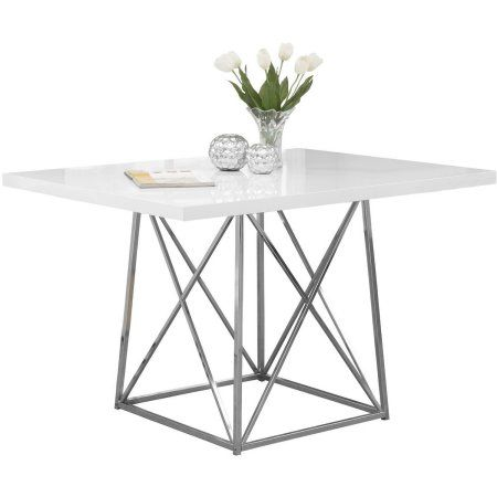 Monarch Dining Table 36X 48 White Glossy Chrome Metal 18739 Pickup