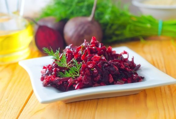 Beet and Red Cabbage Slaw  http://www.vegkitchen.com/recipes/beet-and-red-cabbage-slaw/