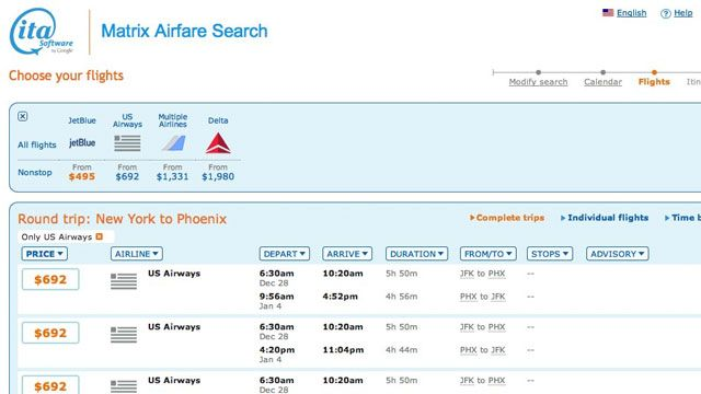 Find Really Cheap First-Class or Business-Class Tickets with ITA Software's Matrix