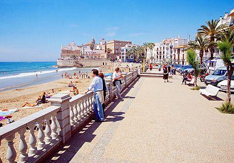 Promenade. Sitges, Barcelona province, Catalonia, Spain.