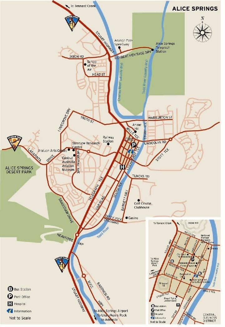 Alice Springs Map in Northern Territory, Australia