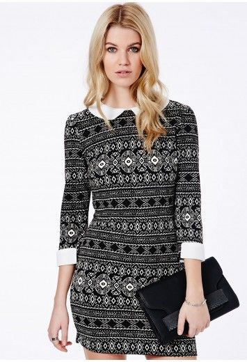 Missguided - Julianna Aztec Collar Shift Dress