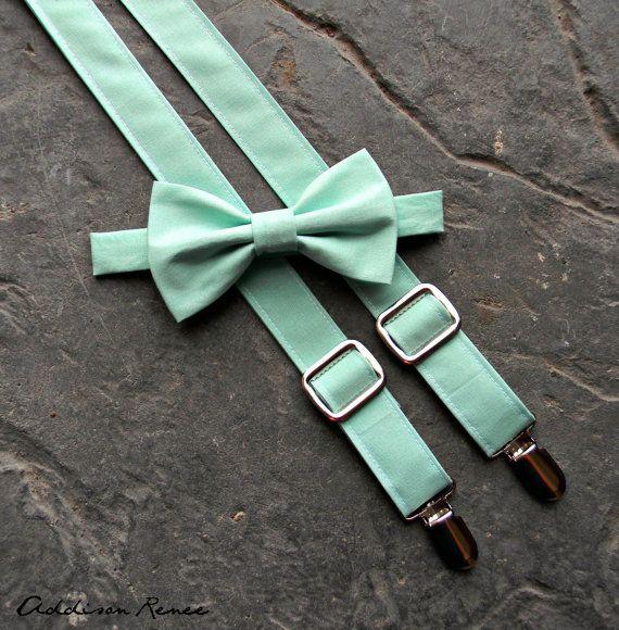 Bretelles de garçons et de jeu de noeud papillon - vert menthe garçons réglables bretelles et noeud papillon