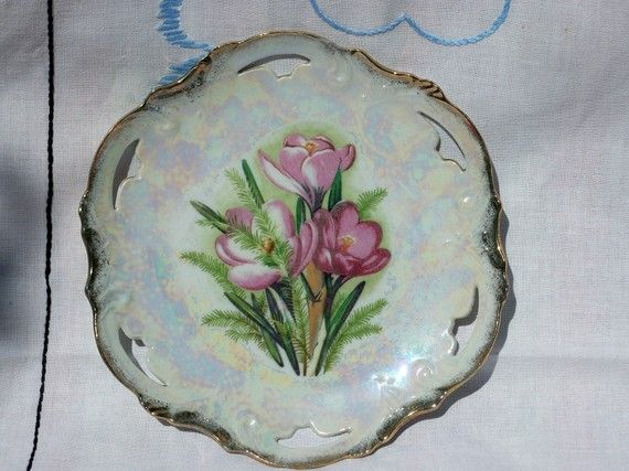 Vintage Pink Floral Pearlized China Plate Japan Mint by BlackRain4