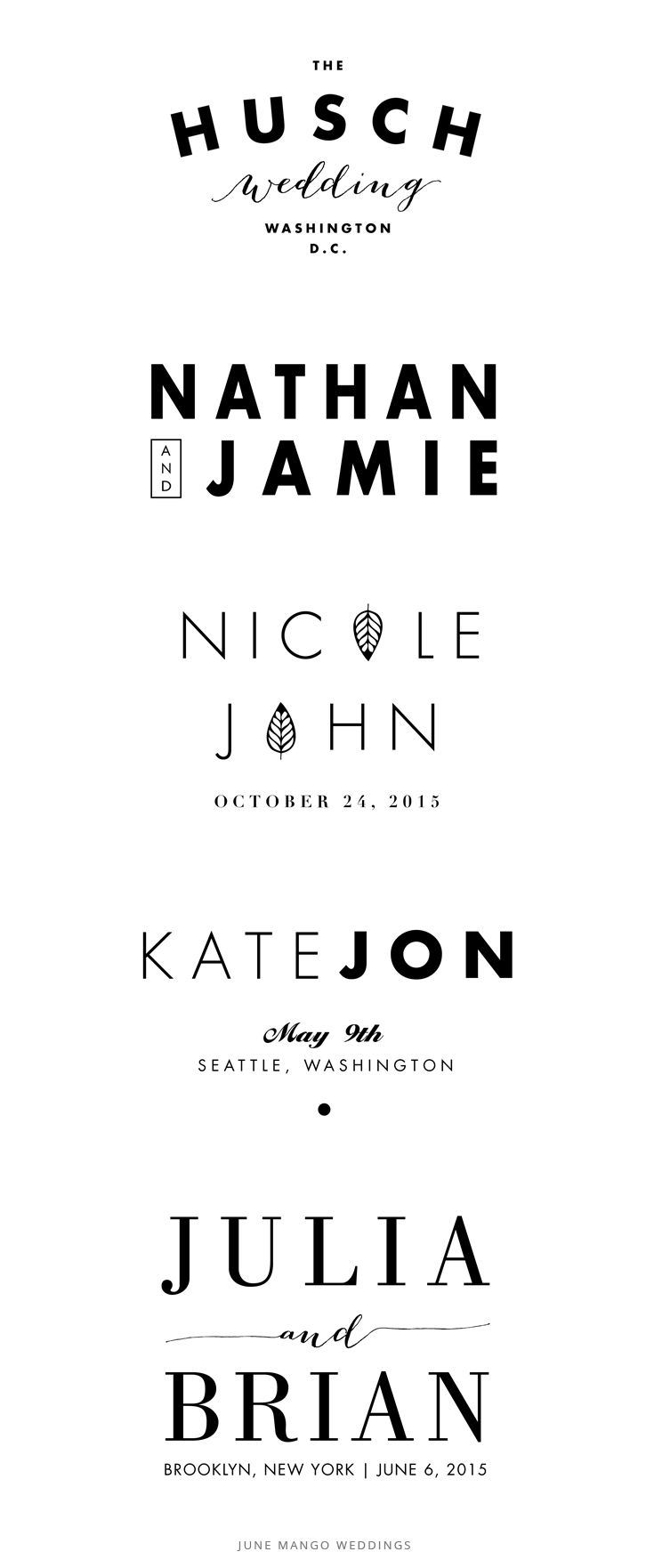 Modern + Simple + Stylish Wedding Logos for couples on Etsy | June Mango Weddings
