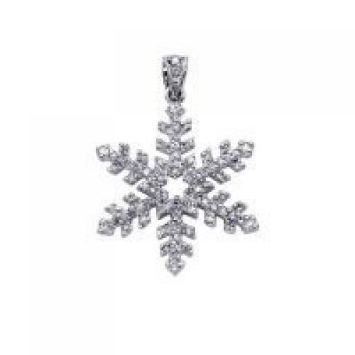 Bling Jewelry Cubic Zirconia Sterling Silver Snowflake Pendant Necklace