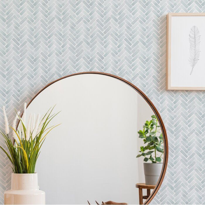 Magellan Watercolor Herringbone Paintable Peel And Stick Wallpaper Panel Wallpaper Bedroom Feature Wall Peel And Stick Wallpaper Wallpaper Panels