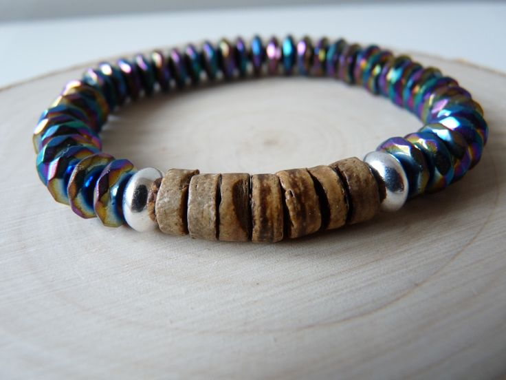 Multi color hematite and wood bracelet, Hematite power bracelets, unisex bracelets, men's bracelets, Stretched bracelet, Boho jewelry, Wood bead bracelet, bracelets Wooden, multi color bracelet, Hematite jewelry, Meditation bracelet,