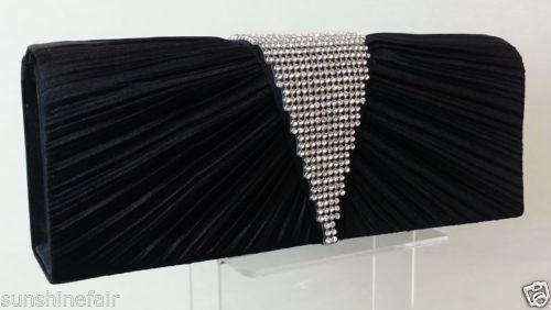 BLACK Pleated-Satin-Diamante-Deep-V-Clutch-Bag