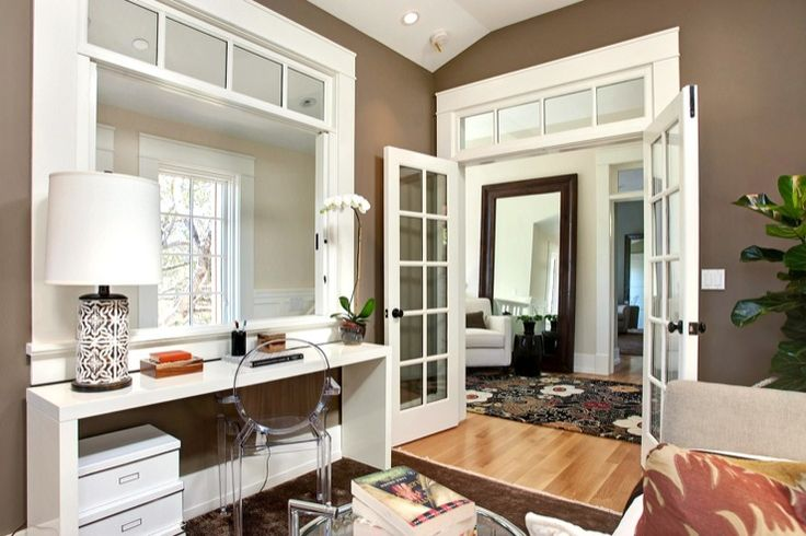 Urrutia Design - dens/libraries/offices - Benjamin Moore - Woodcliff Lake - French Door, French Doors, French Window, French Windows, Transo...