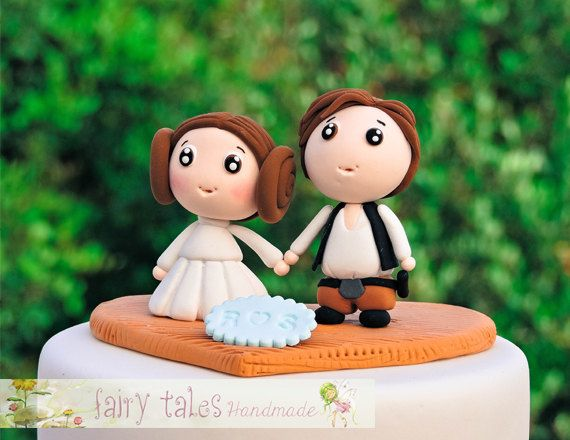 Star Wars Wedding Cake Topper with Stand and Free Shipping / Princess Leia and Han Solo