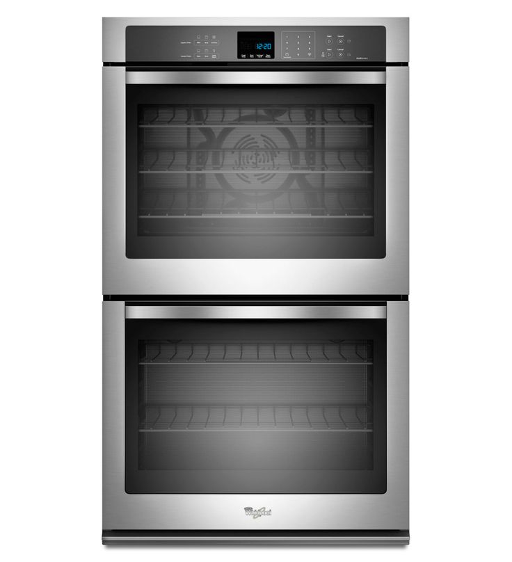 Whirlpool Gold 8.6 cu. ft. Double Wall Oven with the True Convection Cooking in silver.