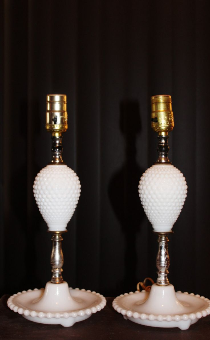 Great night lamps - Vintage Pair Milk Glass Hobnail Table Lamps Great For Girls Room Mid Century Modern