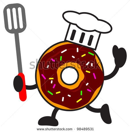 stock vector : illustration funny of cartoon donuts chef character