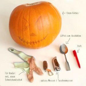 Das braucht man um einen Halloween Kürbis zu schnitzen... Gefunden auf: http://www.moms-blog.de