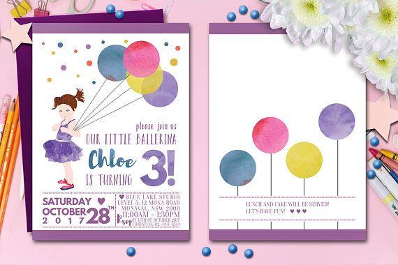 Little Ballerina Birthday Invitation, Three Year Old Invites, 2nd 3rd 4th Girl Bday, Baby Dancer Card, Kids Ballet Digital, Tutu Party, DIY