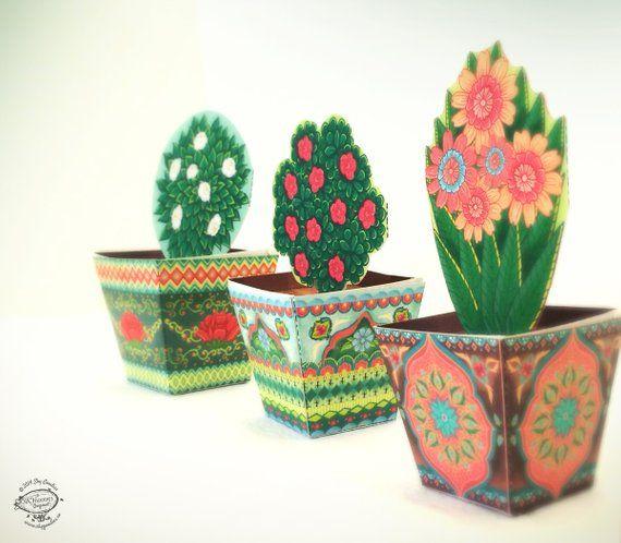 Combo Saver Set Of 3 Mini Flower Pots Papercraft Diy Paper Toys