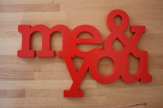 Me and you - Cut from MDF and spray painted with RED water based colour, easily hanging on wall.  Cutted with electric sroll saw.  Measures: 35 cm x 23 cm , depth 1cm