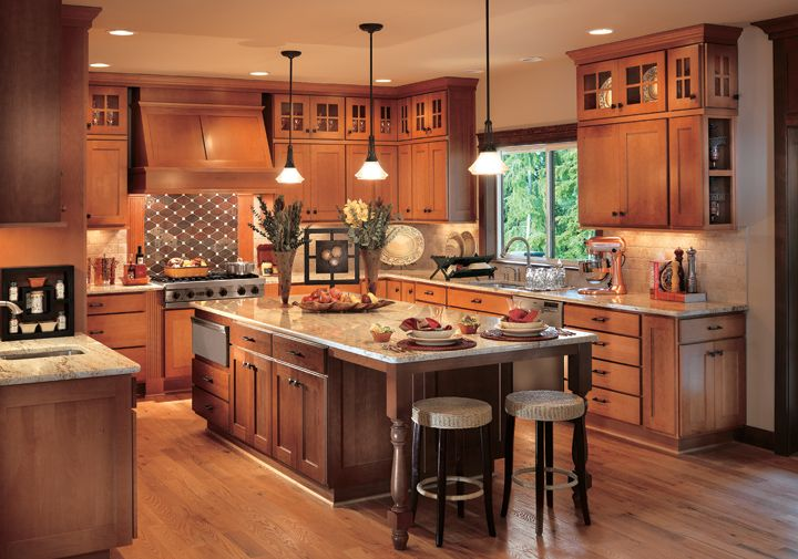 mission kitchen with island designs photo gallery wood cabinets | Cornerstone Kitchens in Beech - Canyon Creek