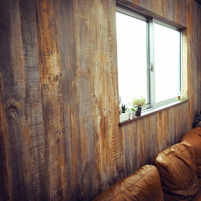 a5さんの、古材風壁紙,セリア,ニトリ,3Coins,フェイクグリーン,男前,男前インテリア,リビング,壁/天井,のお部屋写真