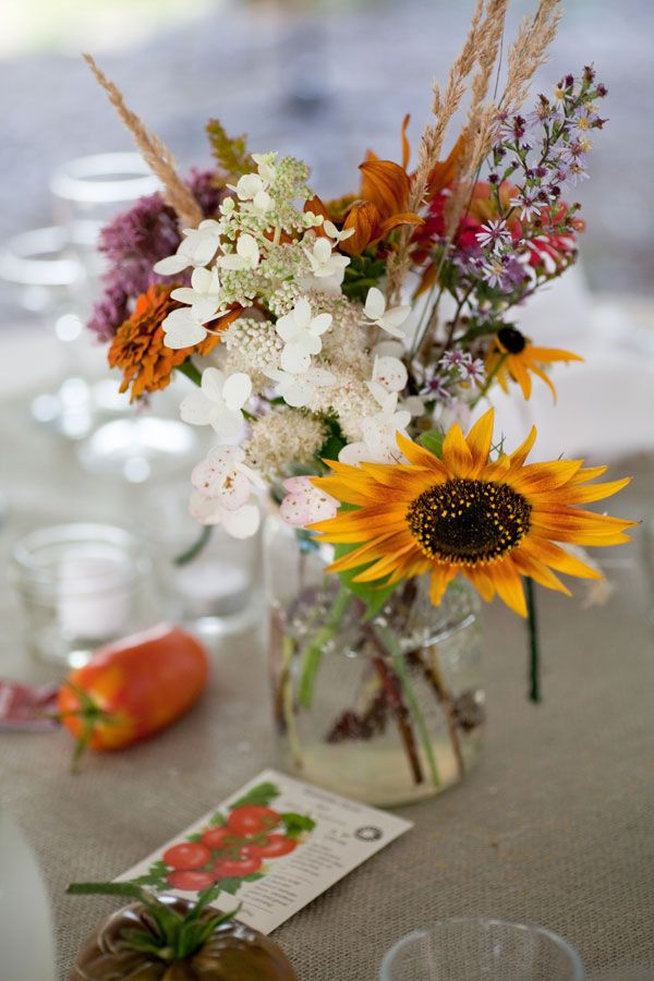 pictures of wedding centerpieces using mason jars%0A Real Weddings  Melissa   Ben  Garden Wedding CenterpiecesWildflower