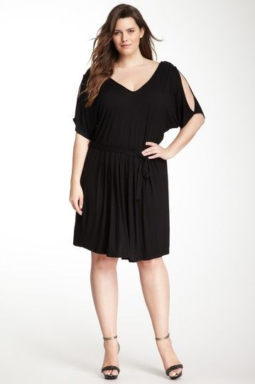 Loveappella Belted V-Neck Dress (Plus Size) by Loveappella on @HauteLook