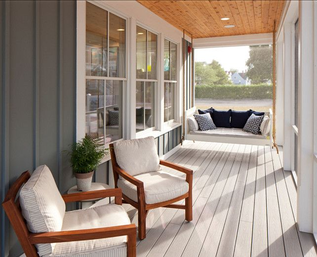 Porch. Porch Design Ideas. Porch with Swing. The front porch features comfortable furniture and an irresistible swing.  #Porch #PorchSwing #PorchIdeas