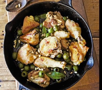 Lidia Bastianich's Chicken with Olives and Pine Nuts; Divine with Polenta