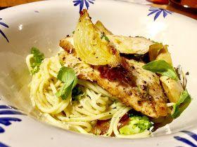 spaghetti di pollo con burro all'aglio ( chicken spaghetti with garlic butter, Broccoli and Artichoke ) recipe by Matthew Luca