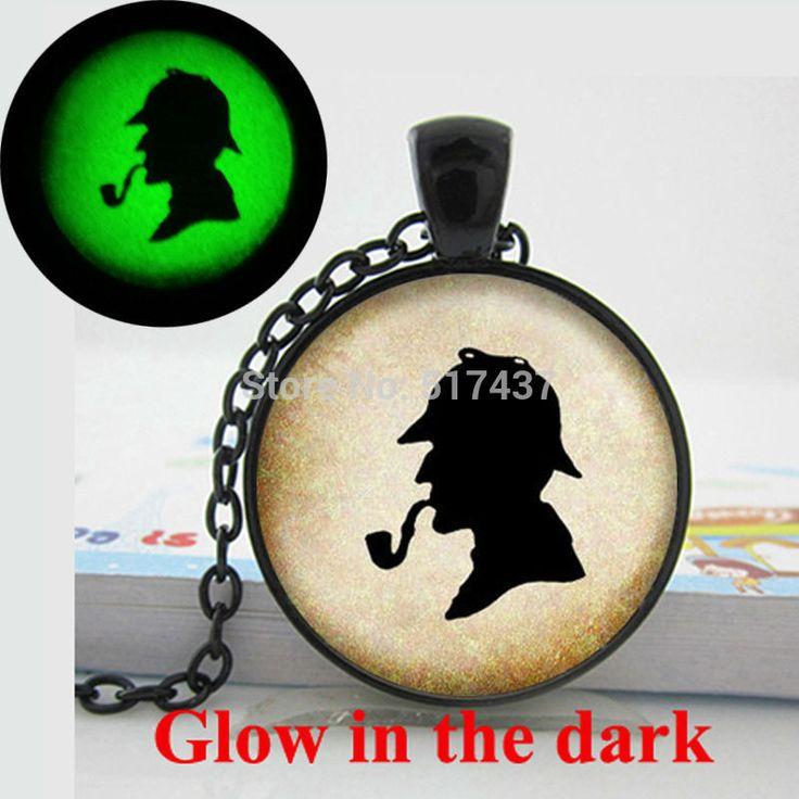 Светятся в темноте старинные силуэт ожерелье шерлок холмс силуэт ожерелье художественное фото светящийся ювелирных изделийкупить в магазине Angela New Fashion JewelryнаAliExpress