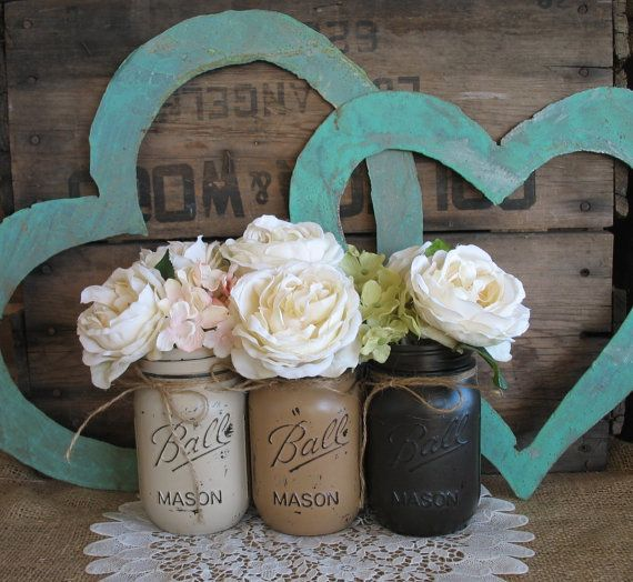 Mason Jars, Ball jars, Painted Mason Jars, Flower Vases, Rustic Wedding Centerpieces, brown Mason Jars