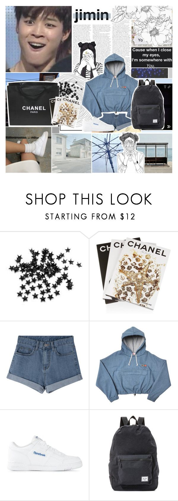 """""""Dance covers w/ Jimin ^^_Crystal"""" by baekyeoltaekook ❤ liked on Polyvore featuring INC International Concepts, Chanel, Assouline Publishing, Reebok and Herschel Supply Co."""