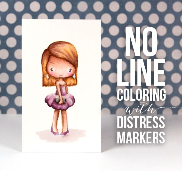 No-Line Coloring with Distress Markers - Color Wednesday #45 (TGF Miss Anya Night Out) +VIDEO