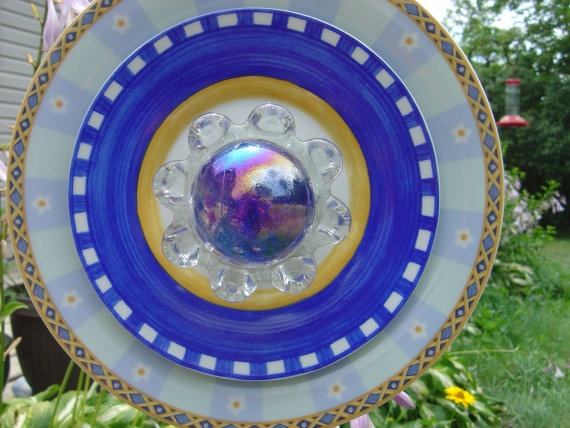 garden decor art plate flower by ReCreationsBySylvia on Etsy, $34.00