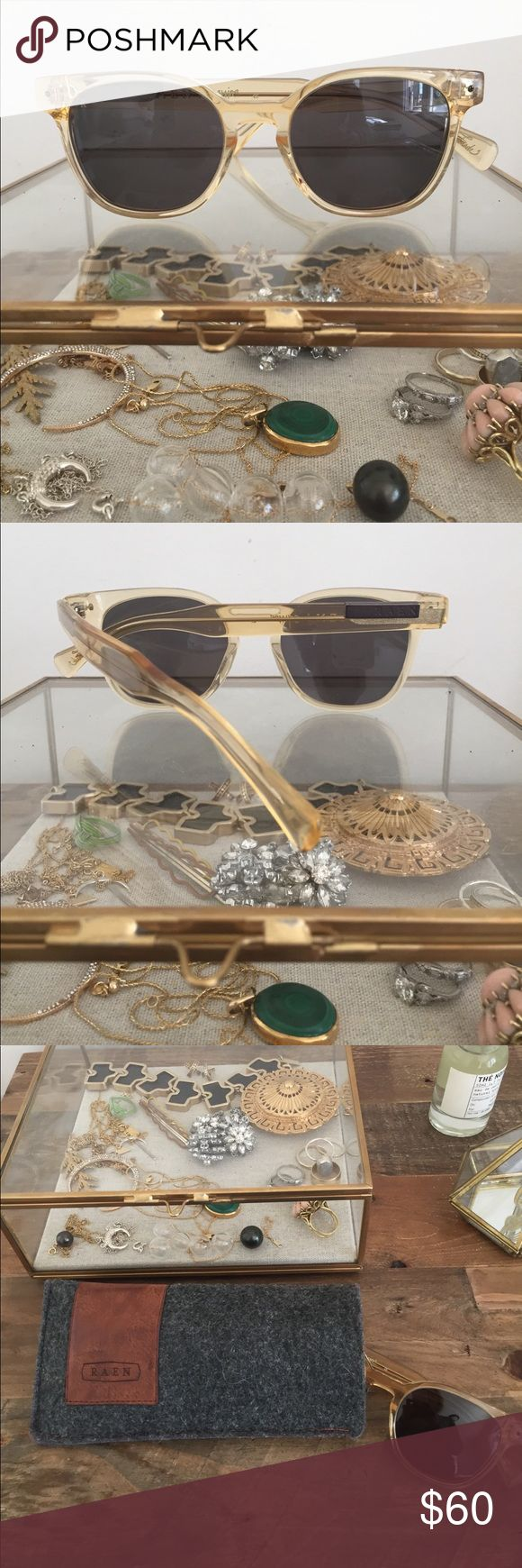Raen Sunglasses Clear gold acetate frames made in L.A., super dark lenses for excellent sun protection! These frames have a 30's flair, wear with a navy high waist bikini or your favorite polka dots! Excellent condition, comes with case. Raen Accessories Sunglasses