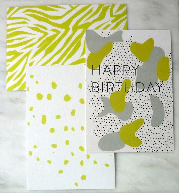 Set of 3 Cards  Greeting cards Happy Birthday  by AlvisPaperMarket