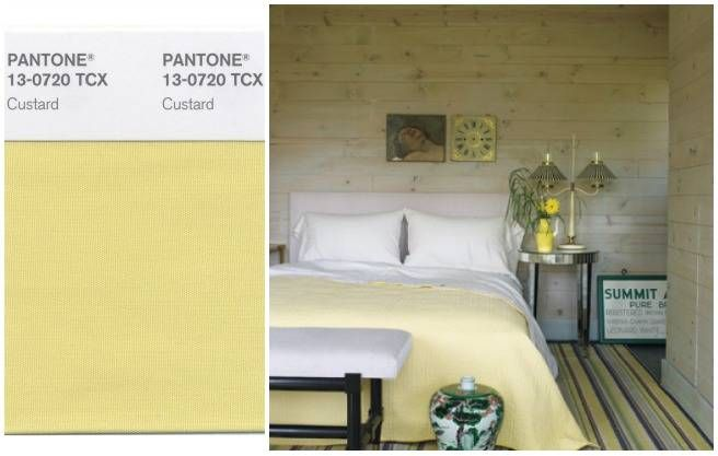 CUSTARD (PANTONE 13-0720)  BRING IT HOME: With cheerful but understated bedding.