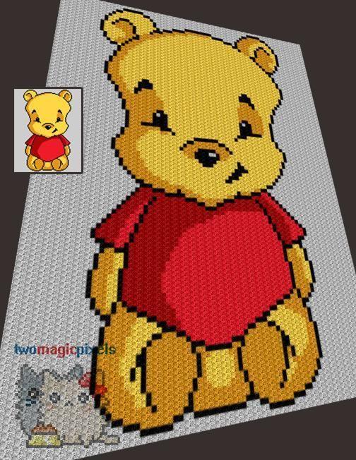 (4) Name: 'Crocheting : Teddy Bear C2C Graph
