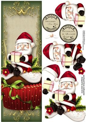Large DL Santa Christmas Cupcake on Craftsuprint designed by Anne Lever - This lovely large dl sized topper features a fabulous christmas cupcake with an icing santa. It has decoupage and two circular greetings. The greetings are merry christmas and a happy new year and merry christmas may your days be merry and bright.  - Now available for download!