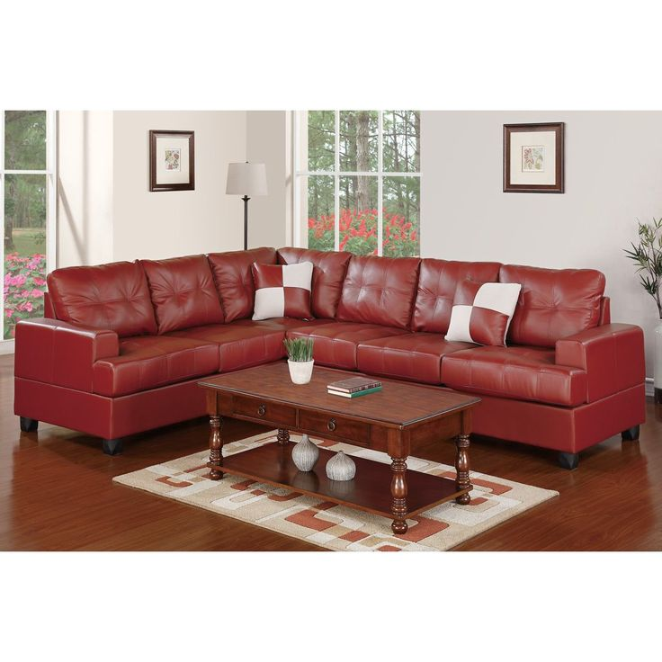 This Contemporary Styled Two Piece Sectional Sofa Is Covered In A Rich Faux Burgundy  Leather