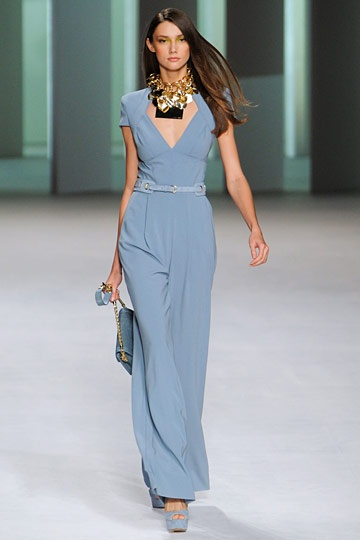 Elie Saab, Spring 2012 - love the soft blue with matching belt + gold accessories