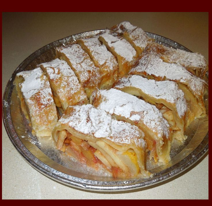 Fresh baked German apple strudel.. Yum! The house smells ...