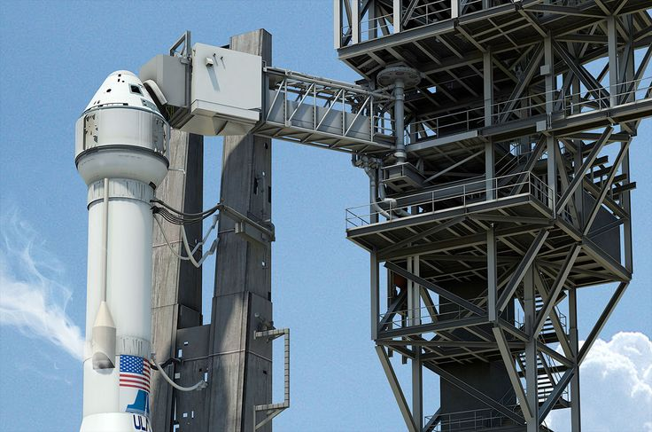 Artist's rendering of Boeing's CST-100 spacecraft on the launch pad with the Commercial Crew Access Tower.