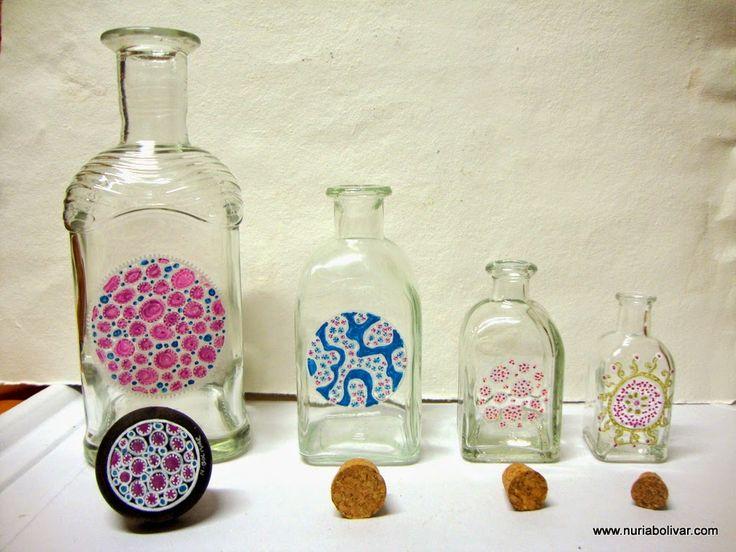 Art i sensacions: Ampolles de vidre pintades a mà (7)